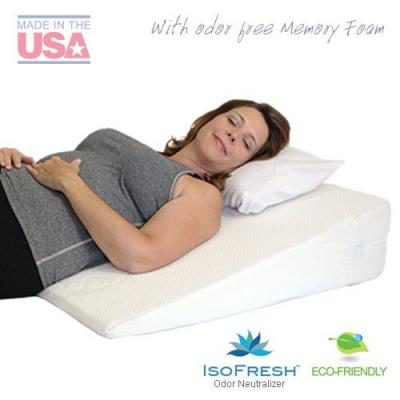 "Acid Reflux Wedge Pillow (32""x30""x7"") with Memory Foam Overlay and Removable Microfiber Cover ""BIG"" by Medslant. Recommended size for GERD and other sleep issues."