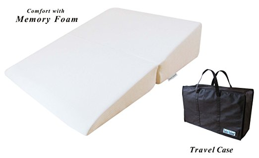 "InteVision Folding Wedge Bed Pillow (32"" x 25"" x 6.5"") with a Carrying Case"