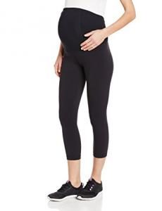 Ingrid & Isabel Women's Maternity Active Capri Pant with Crossover Panel, Jet Black, Medium