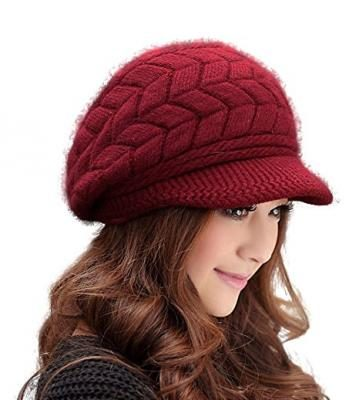 Women Fashions Hats Knit Wool HINDAWI Crochet Winter Snow Warm Cap with Visor Wine