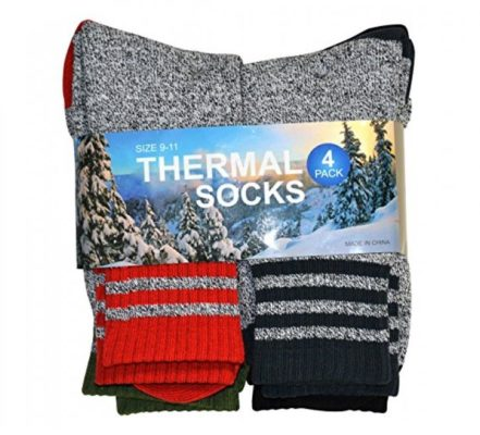 Soxnet Eco Friendly Heavy Weight Recyled Cotton Thermals Boot Socks 4 Pairs (9-11, Multi Stripe)