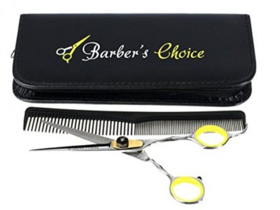 Barber's Choice  Stainless Steel Hair Cutting Shears / Barber Scissors, Comb and Case, 6.5 Inch