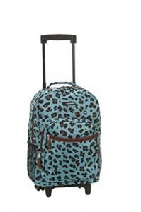 Rockland 17 Inch Rolling Backpack, Blue Leopard, One Size