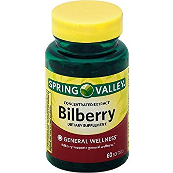 Spring Valley Softgels Bilberry, 60 Softgels