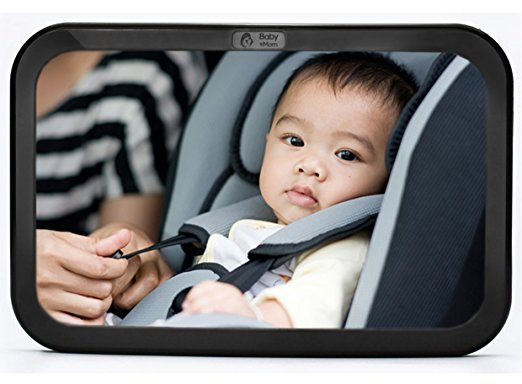 [2016 Model] Back Seat Mirror - Rear View Baby Car Seat Mirror by Baby & Mom - Wide Convex Shatterproof Glass and Fully Assembled - Crash Tested and Certified for Safety
