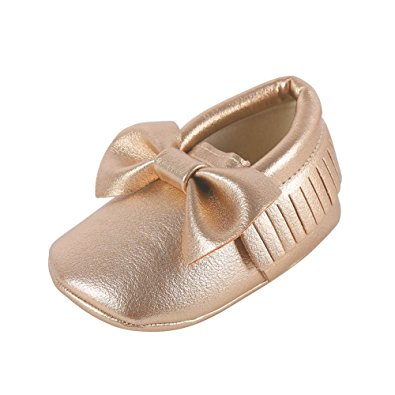 Weixinbuy Baby Boys Girls Soft Soled Tassel Bowknots Crib Shoes PU Moccasins,6-12 Months/5M-5.5M/4.84inch