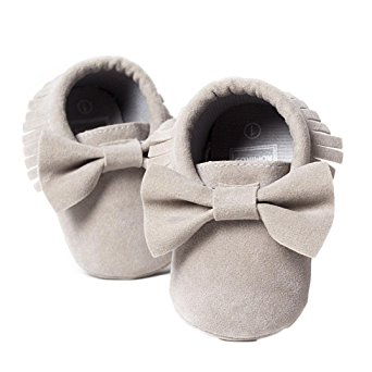 Voberry Baby Boys Girls Tassel Bow Soft Sole PU Leather Loafers Moccasin Sneakers ( 3~6 Month, Grey)