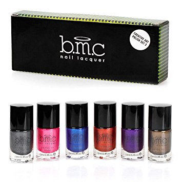 BMC 6pc Metallic Color Nail Stamping Lacquers - Creative Art Polish Collection, Set 3