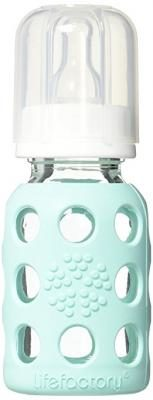 Lifefactory BPA-Free Glass Baby Bottle with Protective Silicone Sleeve and Stage 1 Nipple, Mint, 4 Ounce