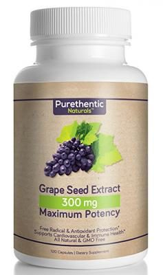Grape Seed Extract Capsules 300mg, 120 Count, 4 Month Supply, Natural Maximum Potency, Purethentic Naturals, (95% Proanthocyanidins) (No Messy Liquid or Loose Powder) (1 Bottle)