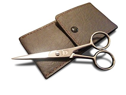 Beard & Mustache Scissors from Striking Viking - Steel Scissors for Beards and Mustaches. Includes Synthetic Leather Case for Travel and Storage.