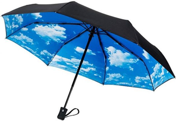 CrownCoast Heavy Duty Auto Open/Close Travel Umbrella, Windproof Up to 60 MPH Winds, Frame Won't Break if Flipped Inside/Outside
