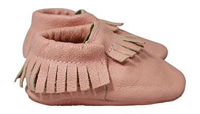 Lucky Love Baby Moccasins, Genuine Leather (6-12 months | size 3.5 US, Pink )