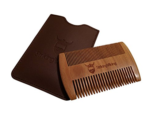 Wooden Beard Comb & Case from Striking Viking - Anti-Static and Hypoallergenic Wood Pocket Comb For Beards & Mustaches