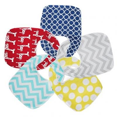 Regaroo Waterproof Cotton Bib Set - Perfect for Eating, Drooling or Teething - Leak-proof Triple Layer Bib with Snaps (5-pack Designer Set)