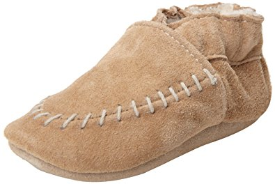 Robeez Cozy Moccasin Crib Shoe (Infant), Taupe, 6-12 Months M US Infant