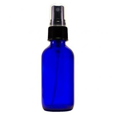 All 4 You Cobalt Blue Boston Round Glass Bottle 2 oz with Black Atomizer - Perfect for Essential Oil Formulas (4 Pieces)