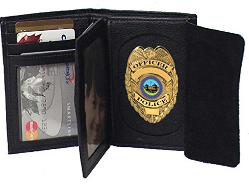 Genuine Leather Cowhide Badge Wallet for Firefighters, Police etc. #4622 US