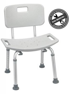 Tool-Free Spa Bathtub Adjustable Shower Chair Seat Bench with Removable Back