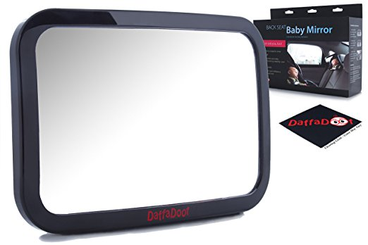 Baby Car Mirror - Rear Facing - Safety Certified & Crash Tested - Shatterproof, Crystal Clear, Huge Back Seat Baby Mirror - Gorgeous Gift Box, FREE Cleaning Cloth Included