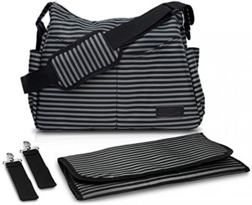 Diaper Bag by AeroBaby for Mom / Dad On-The-Go – Messenger Style Tote w/ Adjustable Crossbody Shoulder Strap, Changing Pad & Stroller Straps - Classic Black & Grey Stripes for a Boy or Girl