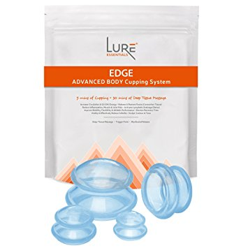 LURE Cupping Set with FREE Cupping Book (PDF) - Most Recommended by Pros Best for Professional & Home Use - 4 Cups, Blue