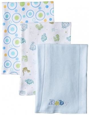 Spasilk Baby-Boys Newborn 3 Pack 100% Cotton Burp Cloths, Blue Baby,One Size