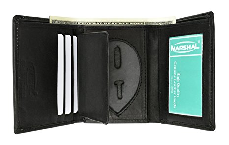 Genuine Leather Trifold Badge Holder Wallet Black, Police Badge Holder
