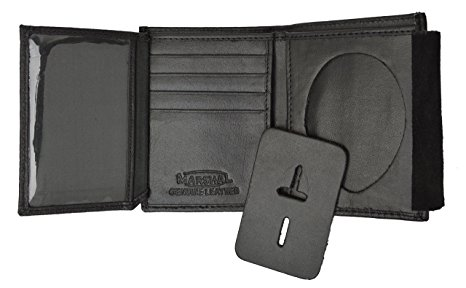 Genuine Leather Trifold Wallet for Men with Police Badge Holder by Marshal