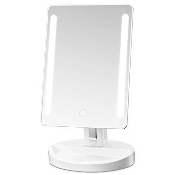 Gotofine LED Lighted Vanity Mirror / Natural Bright Light Makeup Mirror with adjustable 3.5 Inches 10x Magnification Spot Mirror, Movable & Two Power Supply Mode (White)