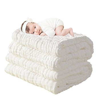 UINSTONE Natural Antibacterial,Super Water Absorbent,Super Soft Muslin Cotton Baby Bath Towels,Care for the baby skin,Newborn Muslin Cotton Warm Baby Bath Towels Also for Baby Blanket -1 pcs