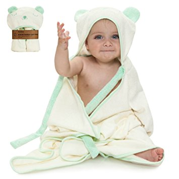 Extra Soft Hooded Bamboo Baby Bath Towel, Organic and Hypoallergenic, Boys & Girls, Ties on Parent's Neck, Bonus eBook, Sized from Infant to Toddler,Baby Shower Gift Set