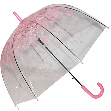 Kung Fu Smith Women Half Automatic Clear Flower Bubble Dome Shape Wind Stick Rain Umbrella, Pink