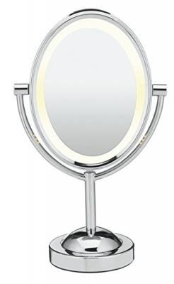 Conair Oval Shaped Double-Sided Lighted Makeup Mirror, 1x/7x magnification, Polished Chrome Finish