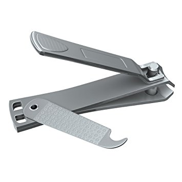 Large Nail Clippers With Swing Out Nail Cleaner / File - Sharpest Stainless Steel Fingernail / Toenail Clipper - Popular Gifts For Men & Women - Wide Easy Press Lever - Best Nail Cutter