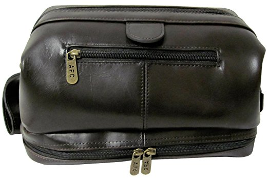 AmeriLeather Leather Toiletry Bag (Black)