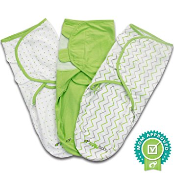 Ziggy Baby Swaddle Blanket Wrap Set Chevron, Dot, Solid, Grey/Green/White, 3 Pack