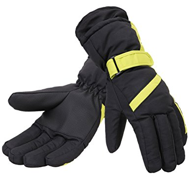 Simplicity Women 3M Thinsulate Lined Waterproof Snowboard/Ski Gloves,M,Bl/Yellow
