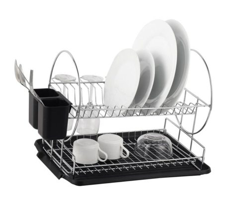 most dish drying racks inexpensive or otherwise will usually have a oneshelf design the neato deluxe 2tier dish rack on the contrary
