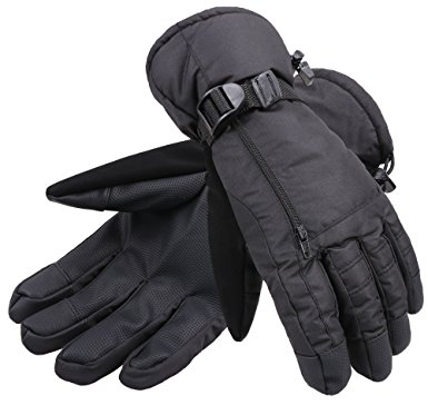 ANDORRA Men's Waterproof Thinsulate Touchscreen Winter Ski Gloves ,M,Black
