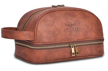 Vetelli Leather Toiletry Bag For Men (Dopp Kit) featuring Travel Bottles
