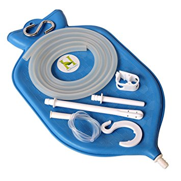 The Perfect Enema Bag Kit in Blue Color for Colon Cleansing With Silicone Hose (2 quart, open top) by HealthGoodsIn™