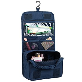 Itraveller Portable Hanging Toiletry Bag/ Portable Travel Organizer Cosmetic Bag for Women Makeup or Men Shaving Kit with Hanging Hook for vacation (Dark Blue)