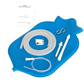 The Large HealthAndYoga(TM) Enema Bag - 4 Quart for Deep Enemas | Open Fountain Top for Easy Cleaning & Hygiene - No Leaky Adapters or Bottle Converters; Hangs Upright - Blue