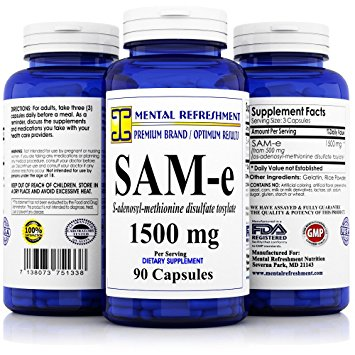 Mental Refreshment: SAM-e 1500mg per serving - 90 Capsules Best Value, S-AdenosyL-Methionine Disulfate Tosylate (1 Bottle)
