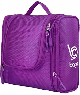 Hanging Toiletry Bag for Makeup & Cosmetic -Travel Toiletries Organizer ( Purple )