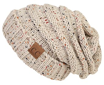 H-6100-2067 Oversized Slouchy Beanie -CONFETTI Oatmeal