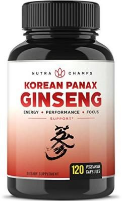 NutraChamps Korean Red Panax Ginseng 1000mg - 120 Vegan Capsules Extra Strength Root Extract Powder Supplement w/ High Ginsenosides for Energy, Mental & Sex Health Pills for Men & Women
