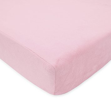 American Baby Company Heavenly Soft Chenille Fitted Crib Sheet, Pink