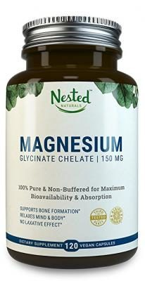 MAGNESIUM GLYCINATE CHELATE 150mg | 120 High Absorption & Bioavailable Vegan Capsules | Chelated Bisglycinate Caps For Muscle Cramps, Tension, Stress Relief, Natural Calm & Sleep | Non GMO Supplement